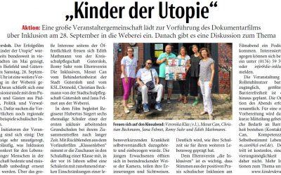 Filmvorführung: Die Kinder der Utopie (Neue Westfälische, 05.09.19)